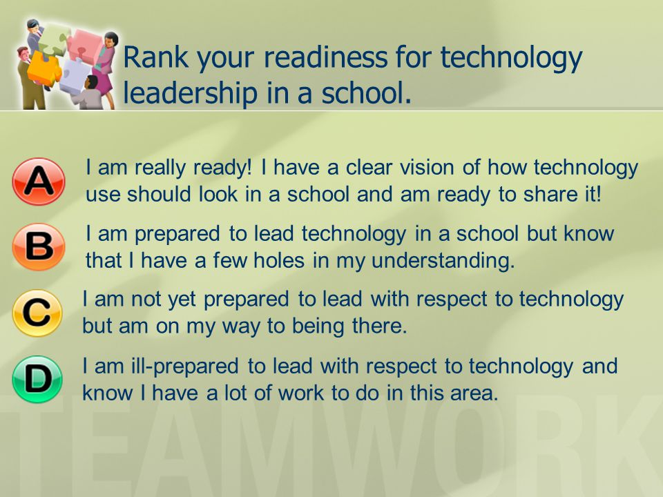 Rank your readiness for technology leadership in a school.
