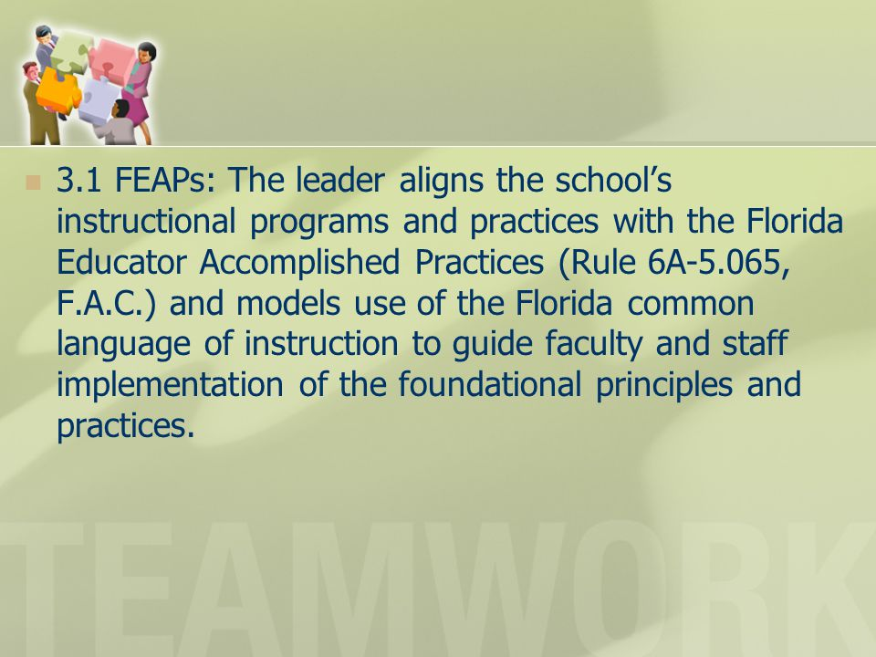 3.1 FEAPs: The leader aligns the school's instructional programs and practices with the Florida Educator Accomplished Practices (Rule 6A-5.065, F.A.C.) and models use of the Florida common language of instruction to guide faculty and staff implementation of the foundational principles and practices.