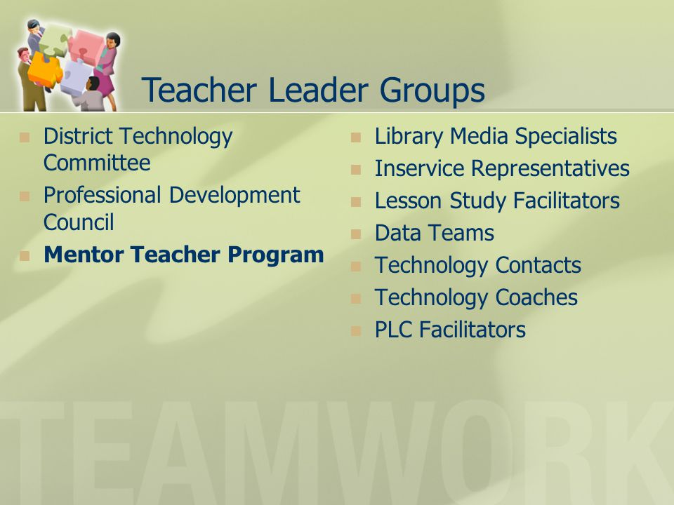 Teacher Leader Groups District Technology Committee Professional Development Council Mentor Teacher Program Library Media Specialists Inservice Repres