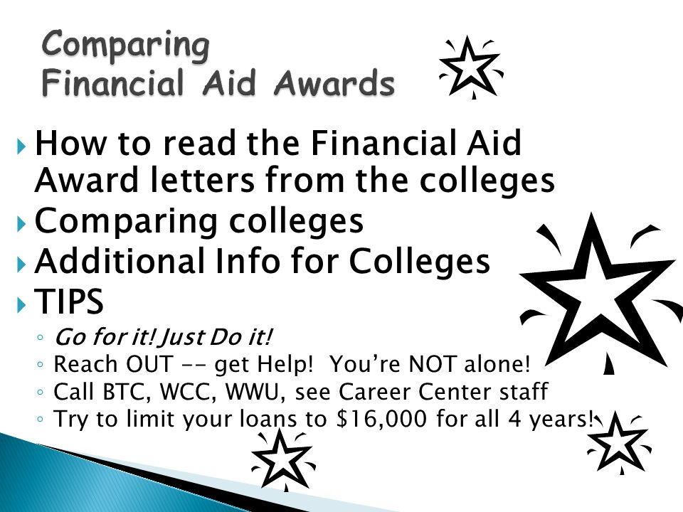  How to read the Financial Aid Award letters from the colleges  Comparing colleges  Additional Info for Colleges  TIPS ◦ Go for it.