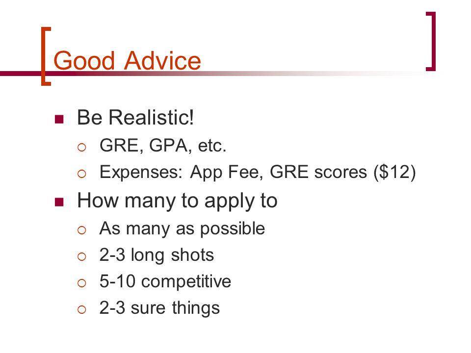 Good Advice Be Realistic.  GRE, GPA, etc.