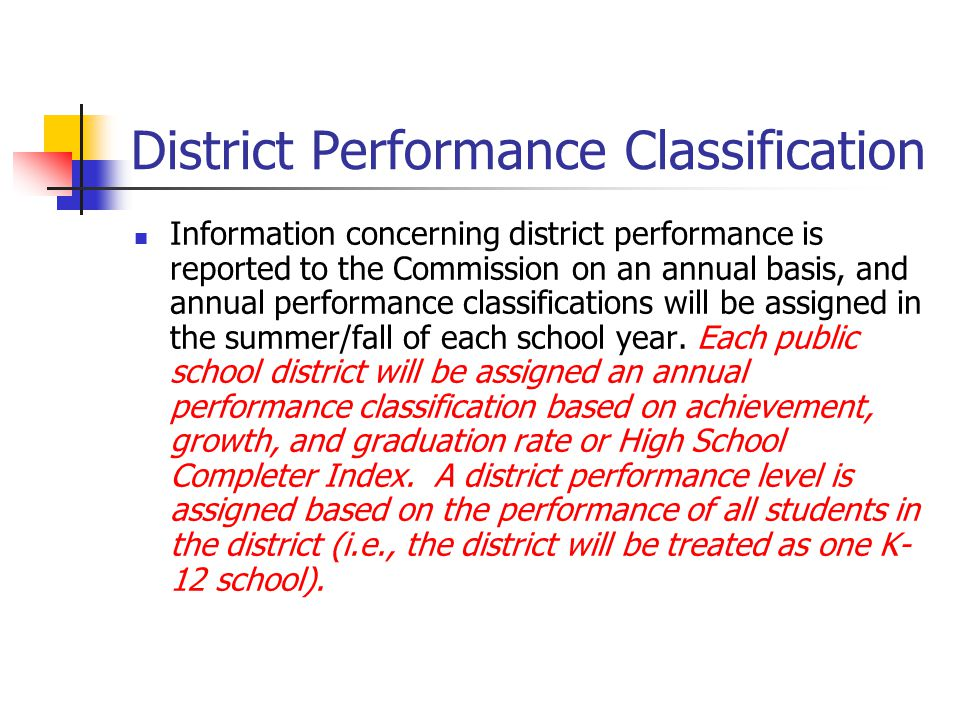 District Performance Classification Information concerning district performance is reported to the Commission on an annual basis, and annual performan