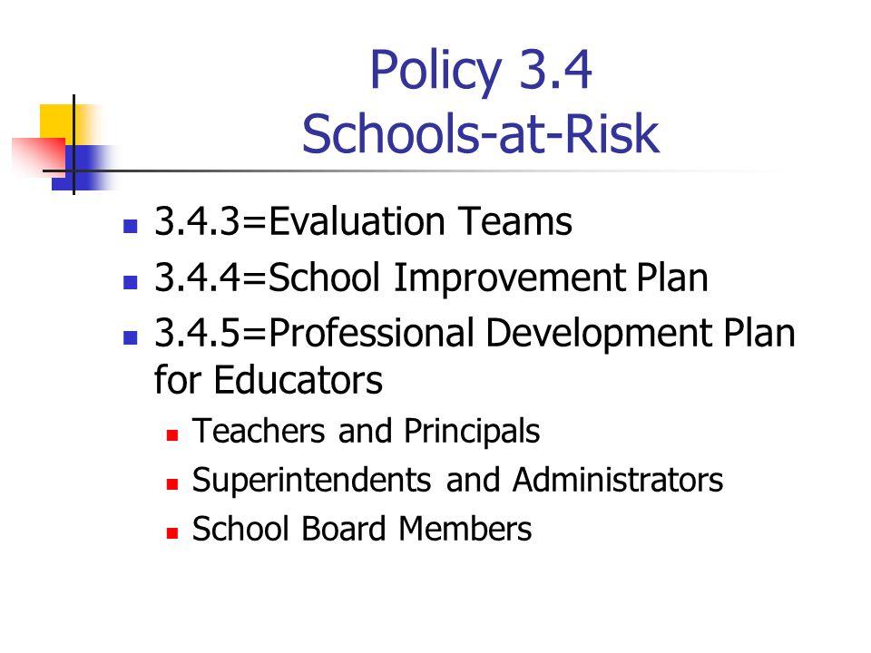 Policy 3.4 Schools-at-Risk 3.4.3=Evaluation Teams 3.4.4=School Improvement Plan 3.4.5=Professional Development Plan for Educators Teachers and Princip
