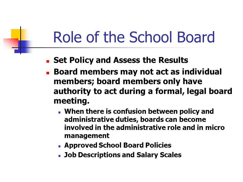 Role of the School Board Set Policy and Assess the Results Board members may not act as individual members; board members only have authority to act d