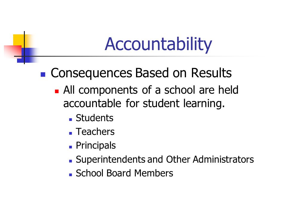 Accountability Consequences Based on Results All components of a school are held accountable for student learning. Students Teachers Principals Superi