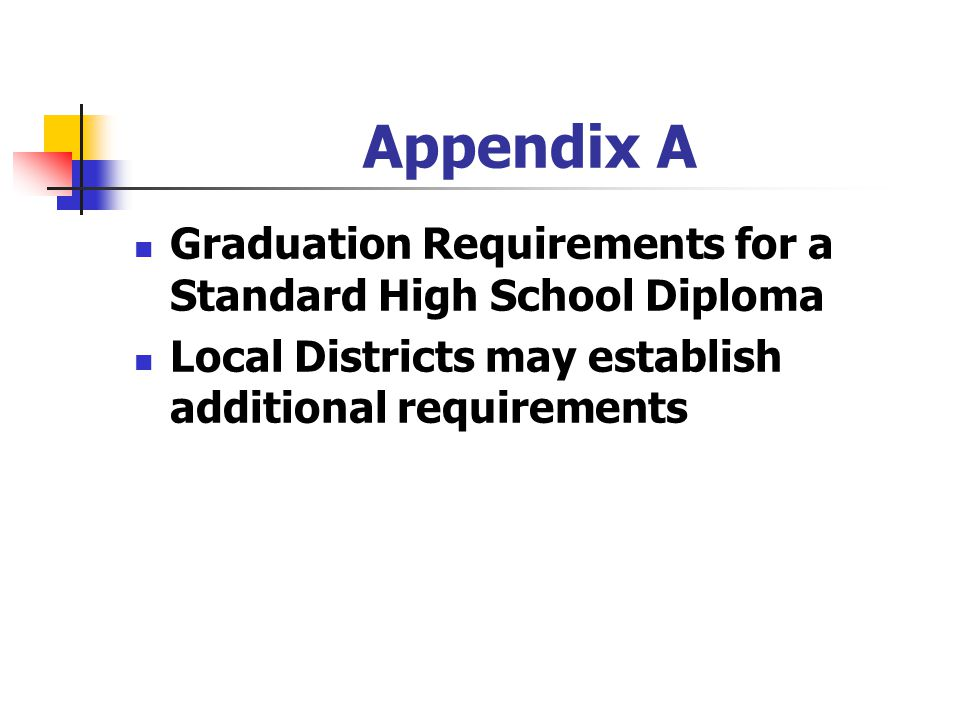 Appendix A Graduation Requirements for a Standard High School Diploma Local Districts may establish additional requirements