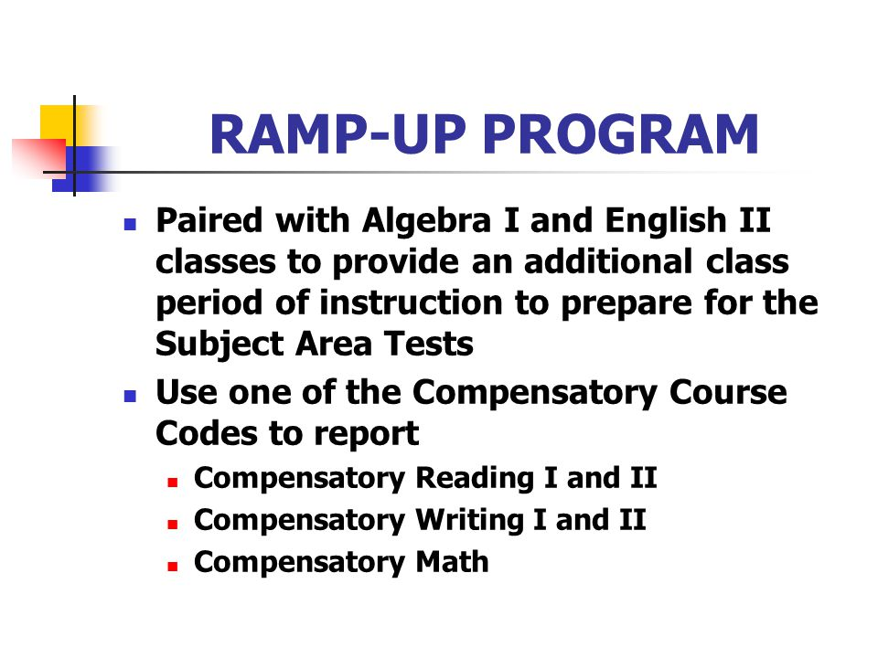 RAMP-UP PROGRAM Paired with Algebra I and English II classes to provide an additional class period of instruction to prepare for the Subject Area Test