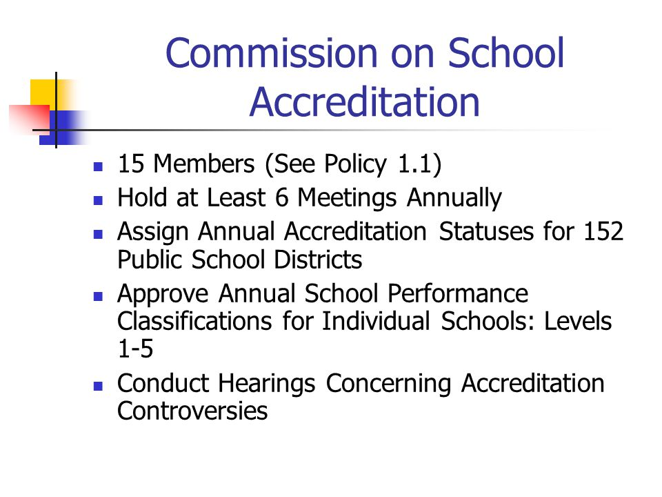 Commission on School Accreditation 15 Members (See Policy 1.1) Hold at Least 6 Meetings Annually Assign Annual Accreditation Statuses for 152 Public S