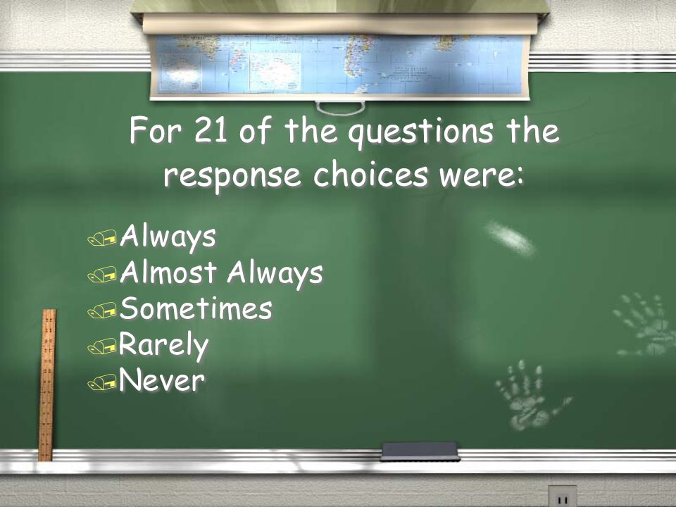 For 21 of the questions the response choices were: / Always / Almost Always / Sometimes / Rarely / Never / Always / Almost Always / Sometimes / Rarely / Never
