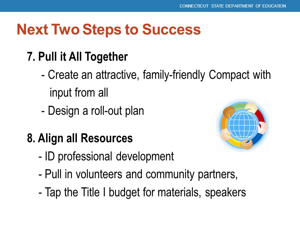 Next Two Steps to Success 7. Pull it All Together - Create an attractive, family-friendly Compact with input from all - Design a roll-out plan 8. Alig