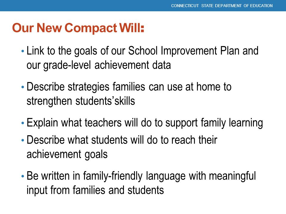 Our New Compact Will : Link to the goals of our School Improvement Plan and our grade-level achievement data Describe strategies families can use at h