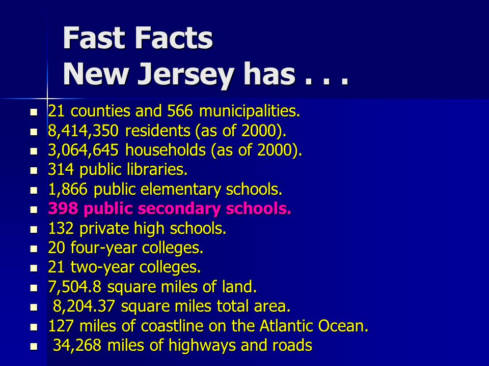 Fast Facts New Jersey has...21 counties and 566 municipalities.