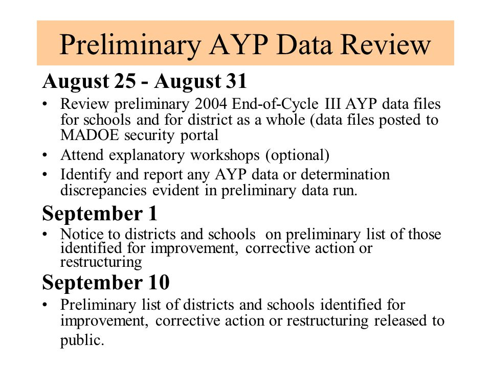 Preliminary AYP Data Review August 25 - August 31 Review preliminary 2004 End-of-Cycle III AYP data files for schools and for district as a whole (dat