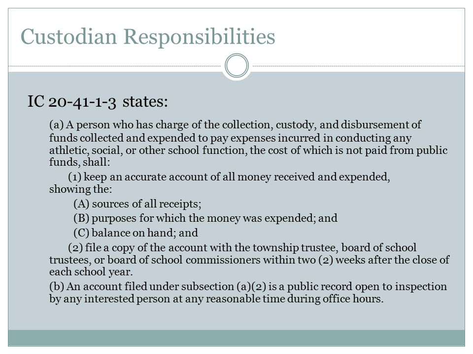Treasurer Bonding Requirements  The requirement for giving the bond and the requirement to deposit the receipts in a separate bank account, as required in IC 20-41-1-9, do not apply to any school for which the funds, as estimated by the principal, will not exceed three hundred dollars ($300) during a school year.