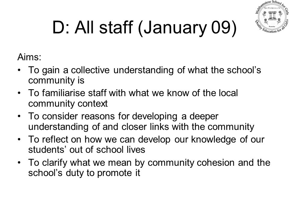 D: All staff (January 09) Aims: To gain a collective understanding of what the school's community is To familiarise staff with what we know of the local community context To consider reasons for developing a deeper understanding of and closer links with the community To reflect on how we can develop our knowledge of our students' out of school lives To clarify what we mean by community cohesion and the school's duty to promote it