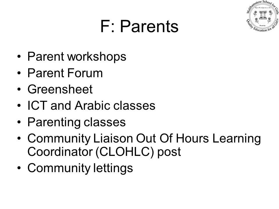 F: Parents Parent workshops Parent Forum Greensheet ICT and Arabic classes Parenting classes Community Liaison Out Of Hours Learning Coordinator (CLOH