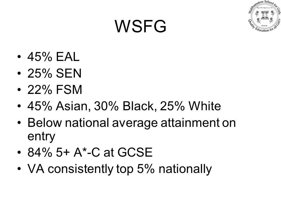 WSFG 45% EAL 25% SEN 22% FSM 45% Asian, 30% Black, 25% White Below national average attainment on entry 84% 5+ A*-C at GCSE VA consistently top 5% nationally