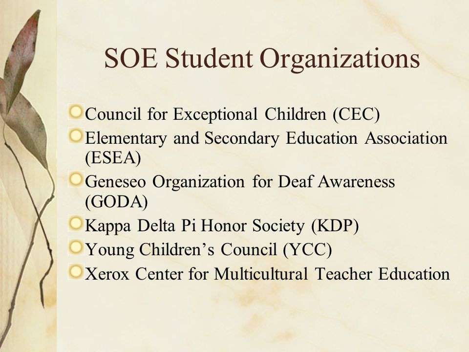 SOE Student Organizations Council for Exceptional Children (CEC) Elementary and Secondary Education Association (ESEA) Geneseo Organization for Deaf Awareness (GODA) Kappa Delta Pi Honor Society (KDP) Young Children's Council (YCC) Xerox Center for Multicultural Teacher Education