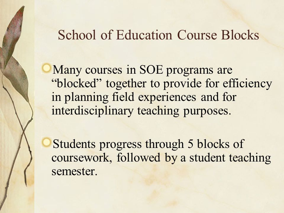 School of Education Course Blocks Many courses in SOE programs are blocked together to provide for efficiency in planning field experiences and for interdisciplinary teaching purposes.