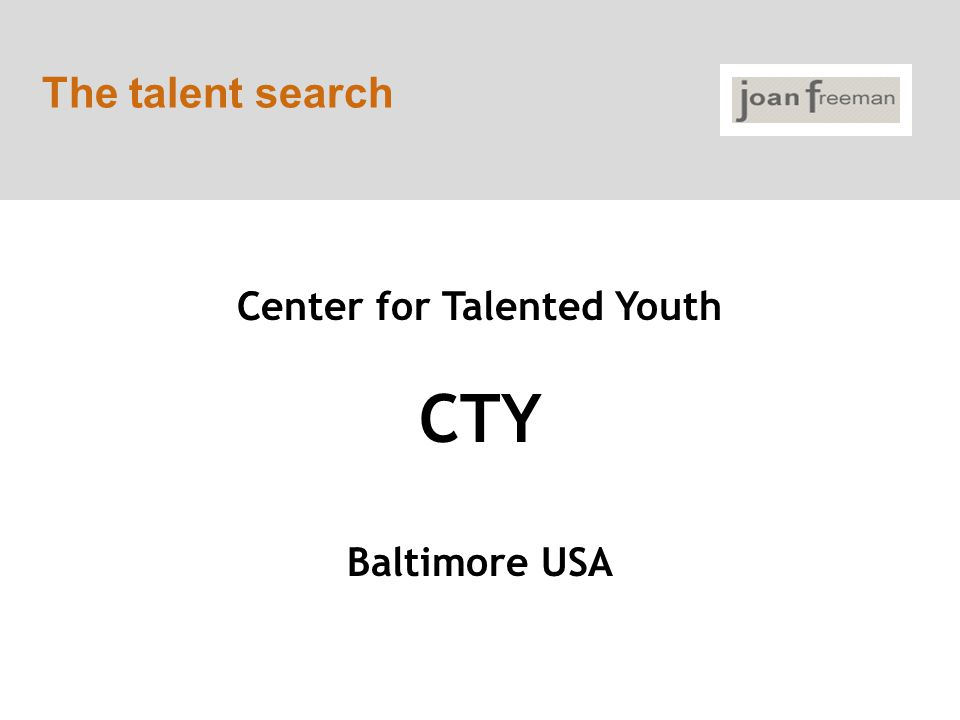 The talent search Center for Talented Youth CTY Baltimore USA
