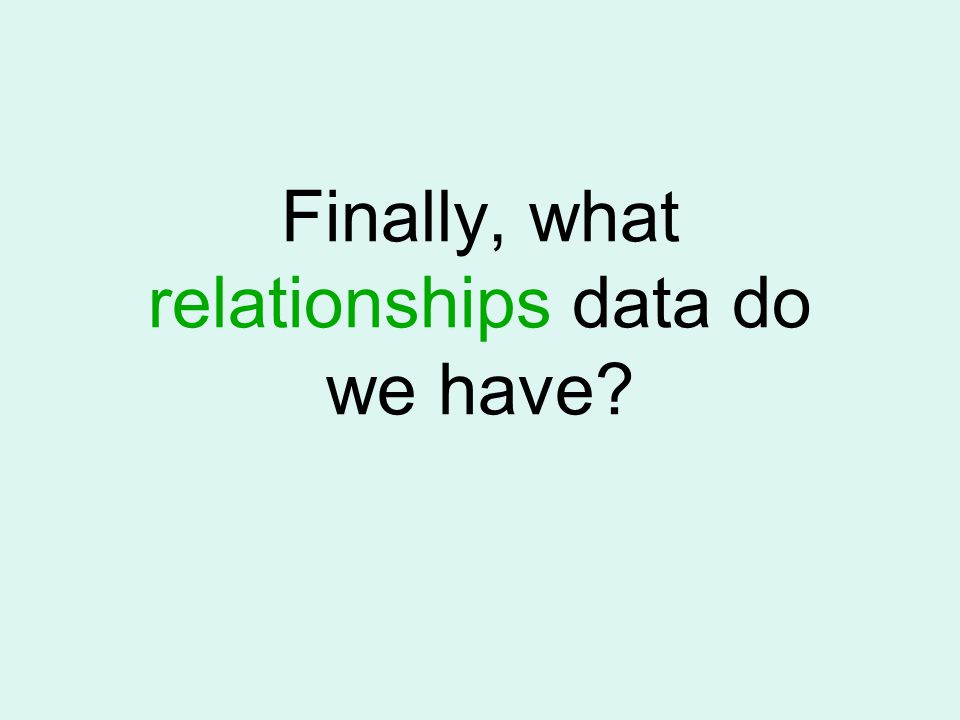 Finally, what relationships data do we have?