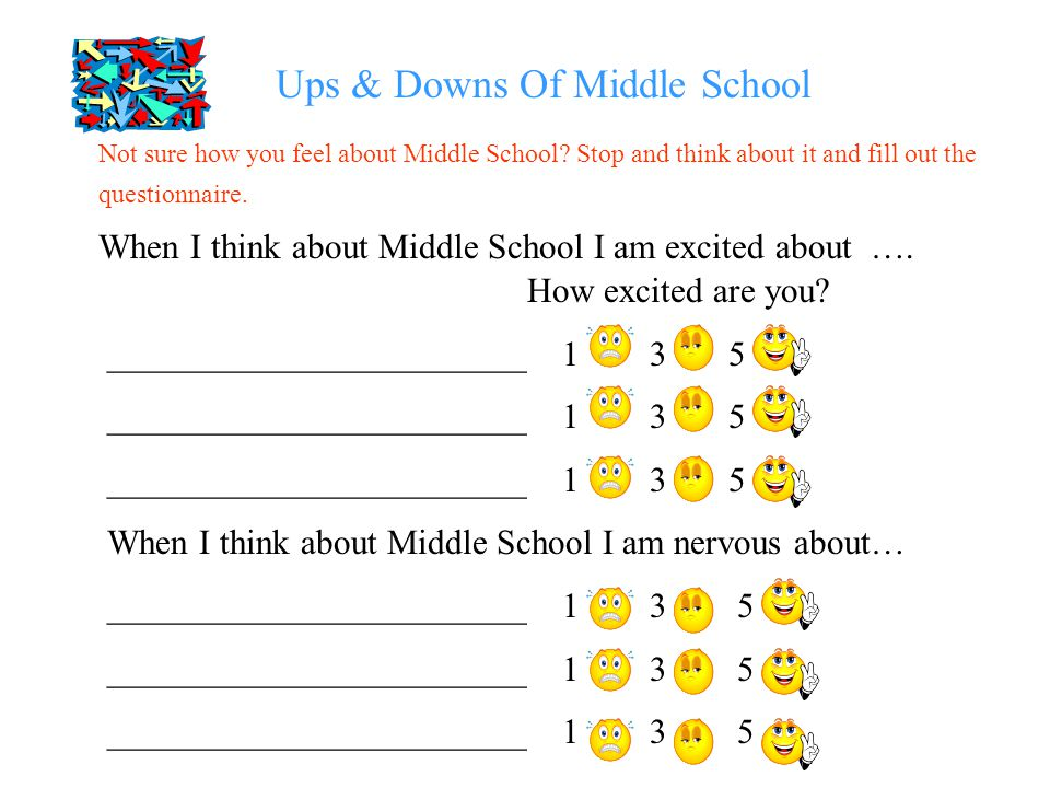 Ups & Downs Of Middle School When I think about Middle School I am excited about …. How excited are you? ________________________ 1 3 5 When I think a