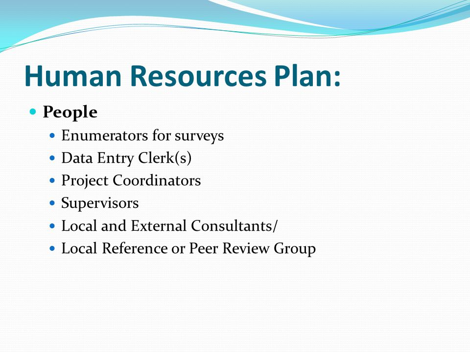 Human Resources Plan: People Enumerators for surveys Data Entry Clerk(s) Project Coordinators Supervisors Local and External Consultants/ Local Refere