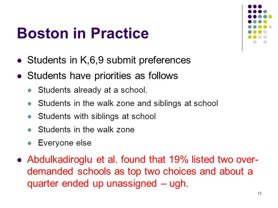 Boston in Practice Students in K,6,9 submit preferences Students have priorities as follows Students already at a school.