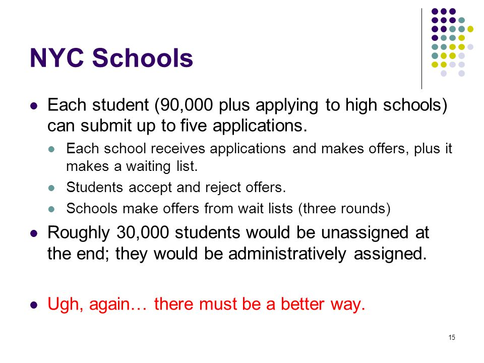 NYC Schools Each student (90,000 plus applying to high schools) can submit up to five applications.