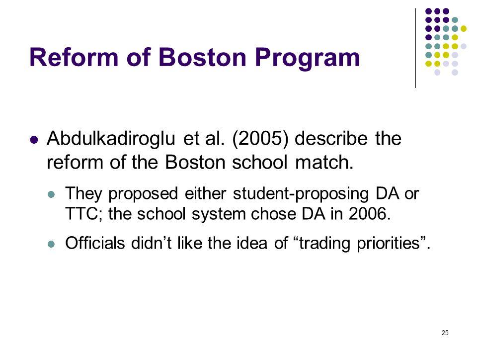 Reform of Boston Program Abdulkadiroglu et al.