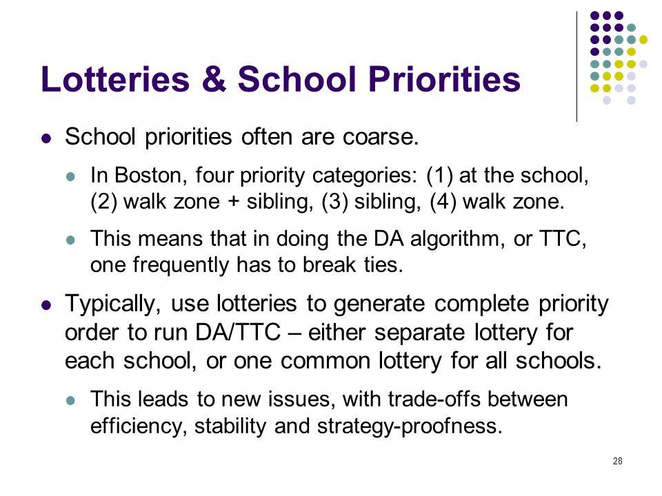 Lotteries & School Priorities School priorities often are coarse.