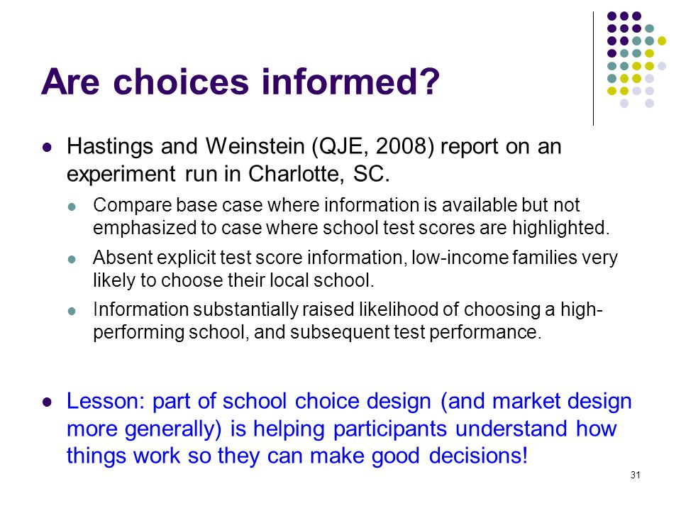 Are choices informed.