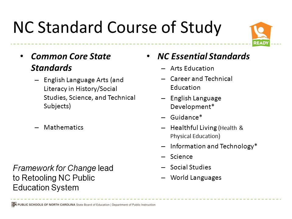 NC Standard Course of Study Common Core State Standards – English Language Arts (and Literacy in History/Social Studies, Science, and Technical Subjects) – Mathematics NC Essential Standards – Arts Education – Career and Technical Education – English Language Development* – Guidance* – Healthful Living (Health & Physical Education) – Information and Technology* – Science – Social Studies – World Languages Framework for Change lead to Retooling NC Public Education System