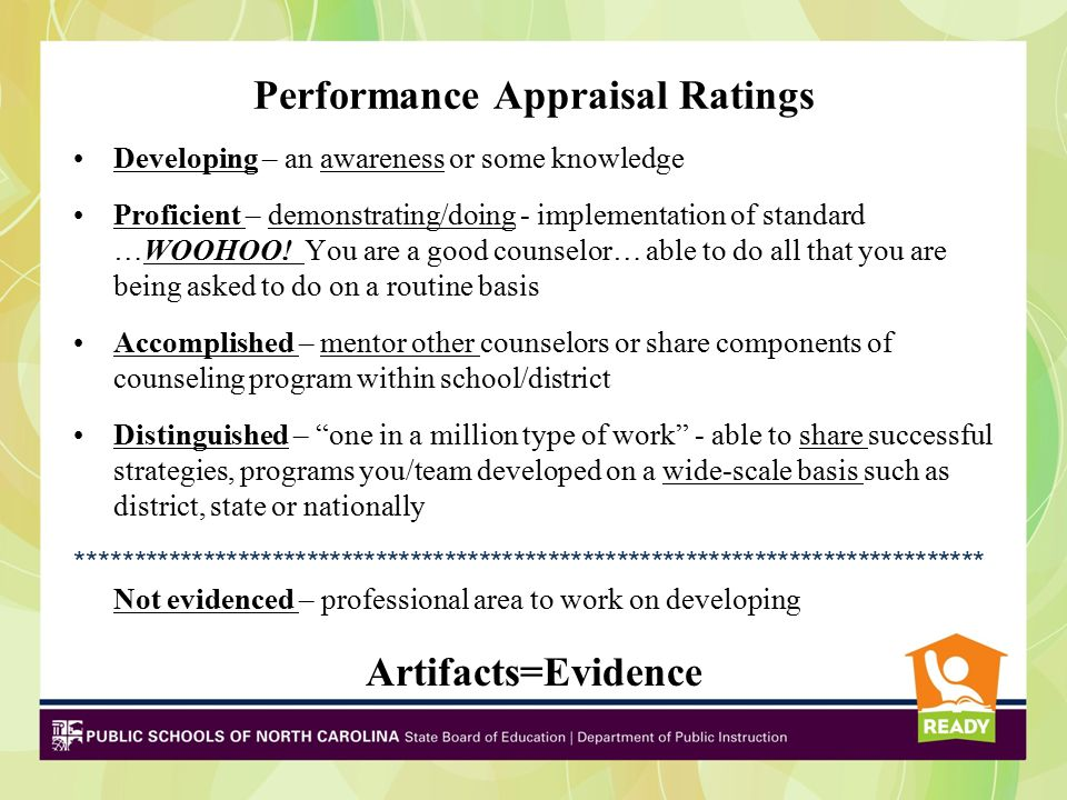 Performance Appraisal Ratings Developing – an awareness or some knowledge Proficient – demonstrating/doing - implementation of standard …WOOHOO.
