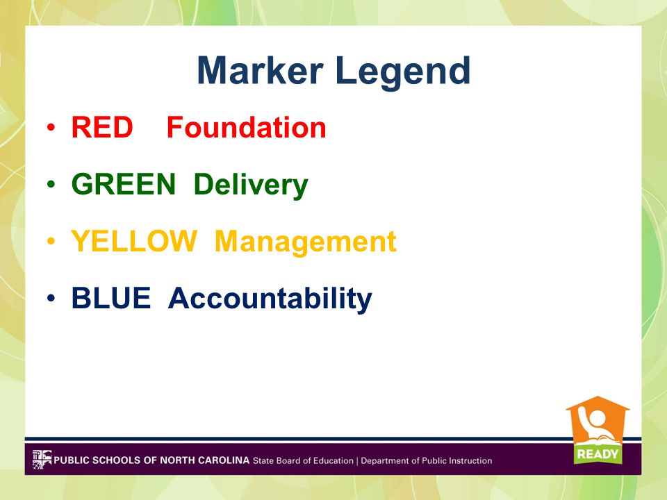Marker Legend RED Foundation GREEN Delivery YELLOW Management BLUE Accountability
