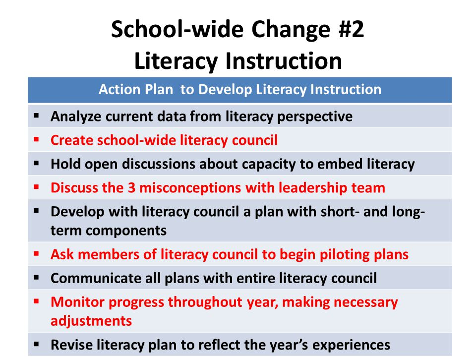 School-wide Change #2 Literacy Instruction Action Plan to Develop Literacy Instruction  Analyze current data from literacy perspective  Create schoo
