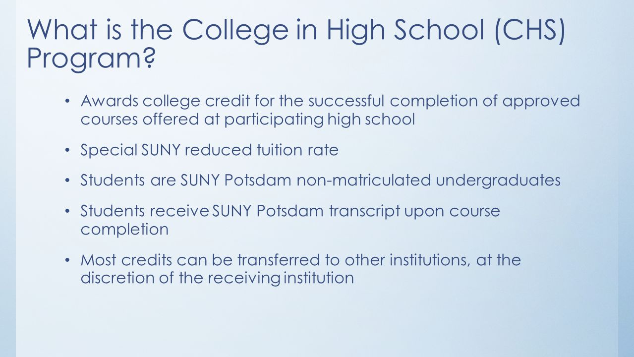 What is the College in High School (CHS) Program.