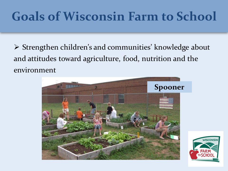  Strengthen children's and communities' knowledge about and attitudes toward agriculture, food, nutrition and the environment Spooner
