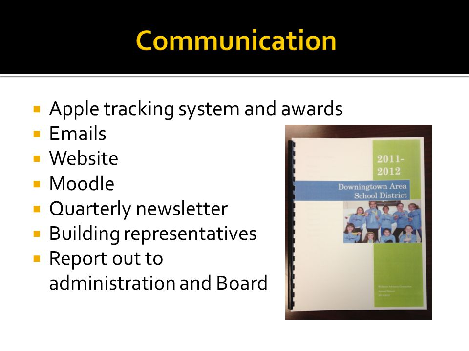  Apple tracking system and awards  Emails  Website  Moodle  Quarterly newsletter  Building representatives  Report out to administration and Bo