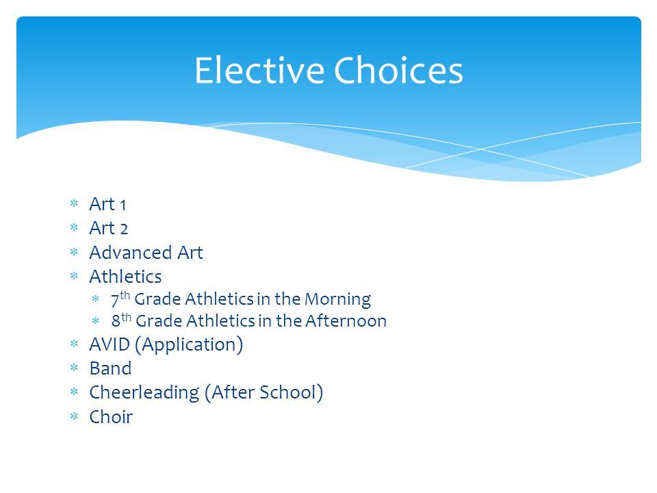  Art 1  Art 2  Advanced Art  Athletics  7 th Grade Athletics in the Morning  8 th Grade Athletics in the Afternoon  AVID (Application)  Band 