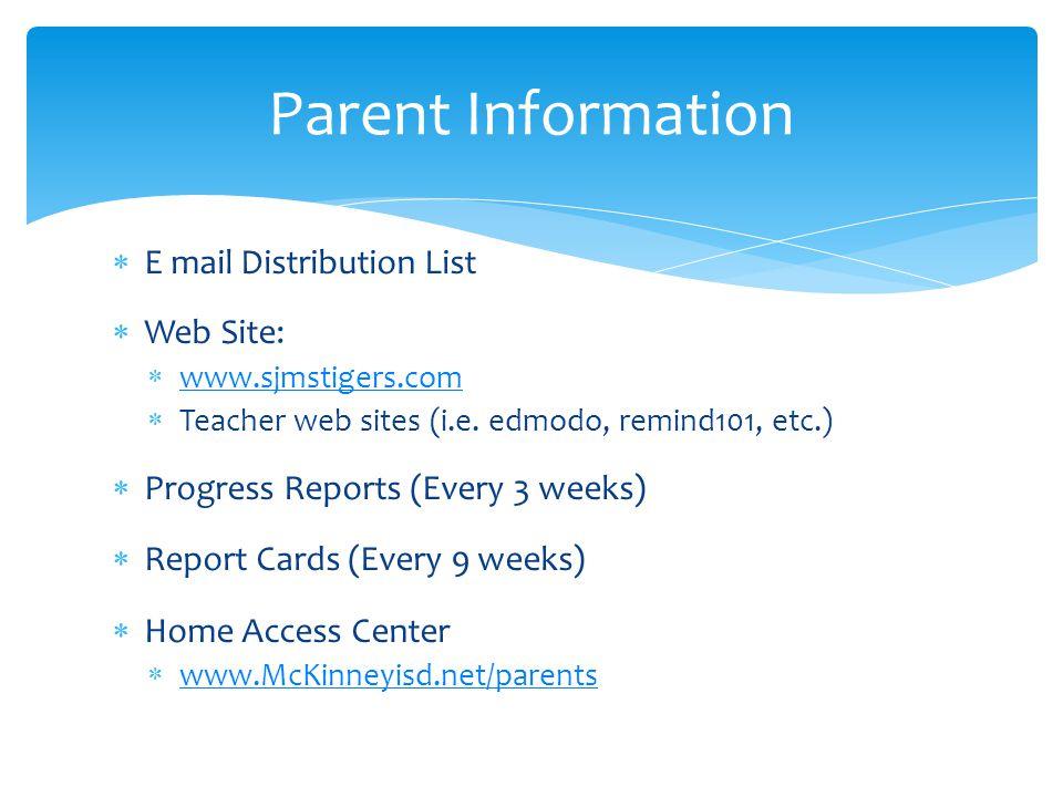  E mail Distribution List  Web Site:  www.sjmstigers.com www.sjmstigers.com  Teacher web sites (i.e. edmodo, remind101, etc.)  Progress Reports (