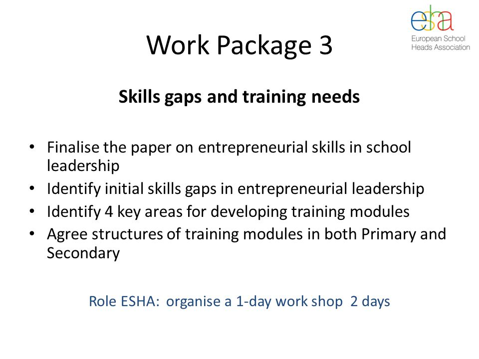 Work Package 3 Skills gaps and training needs Finalise the paper on entrepreneurial skills in school leadership Identify initial skills gaps in entrepreneurial leadership Identify 4 key areas for developing training modules Agree structures of training modules in both Primary and Secondary Role ESHA: organise a 1-day work shop 2 days