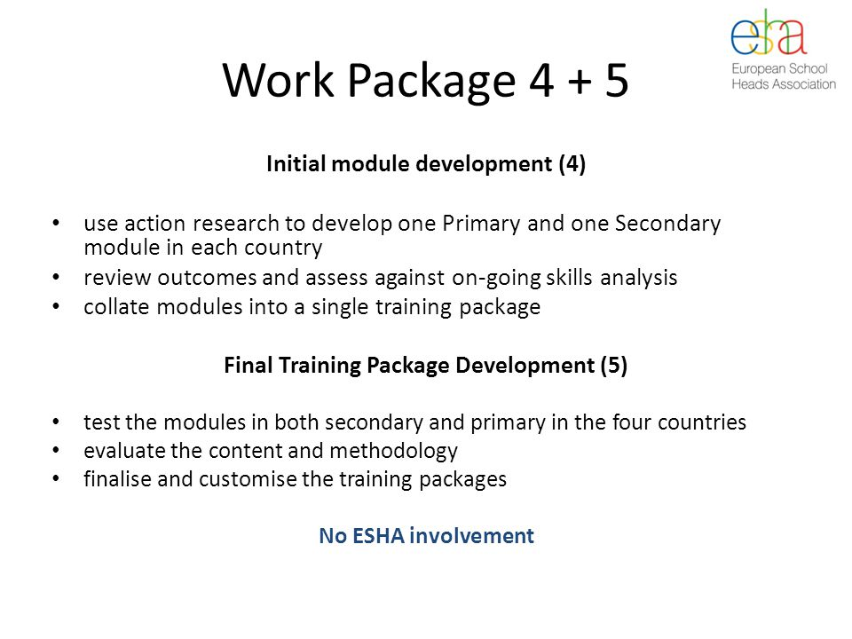 Work Package 4 + 5 Initial module development (4) use action research to develop one Primary and one Secondary module in each country review outcomes and assess against on-going skills analysis collate modules into a single training package Final Training Package Development (5) test the modules in both secondary and primary in the four countries evaluate the content and methodology finalise and customise the training packages No ESHA involvement