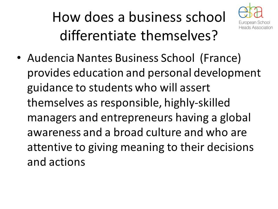 How does a business school differentiate themselves.