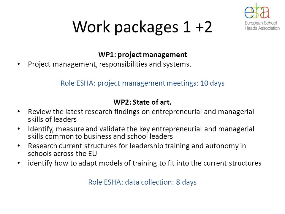 Work packages 1 +2 WP1: project management Project management, responsibilities and systems.