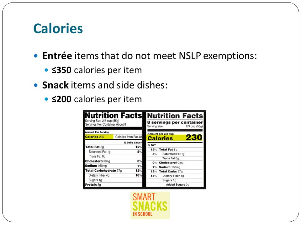 Calories Entrée items that do not meet NSLP exemptions: ≤350 calories per item Snack items and side dishes: ≤200 calories per item