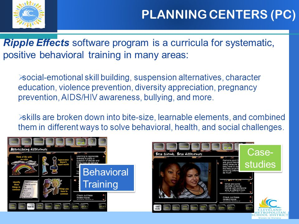 Company LOGO PLANNING CENTERS (PC) Ripple Effects software program is a curricula for systematic, positive behavioral training in many areas:  social