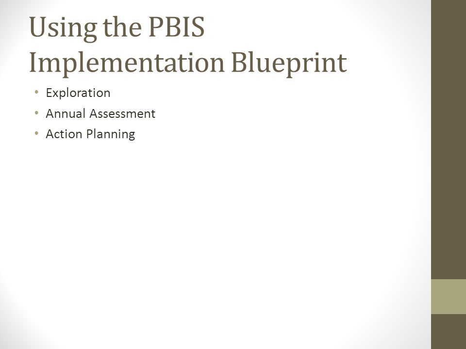 Using the PBIS Implementation Blueprint Exploration Annual Assessment Action Planning