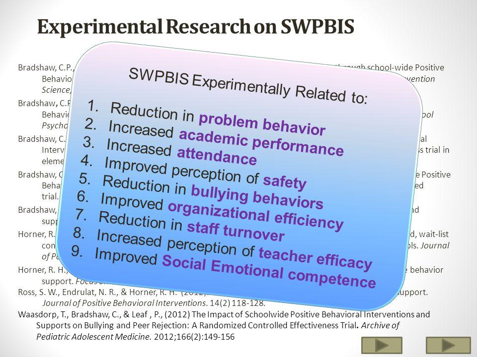 Experimental Research on SWPBIS Bradshaw, C.P., Koth, C.W., Thornton, L.A., & Leaf, P.J.