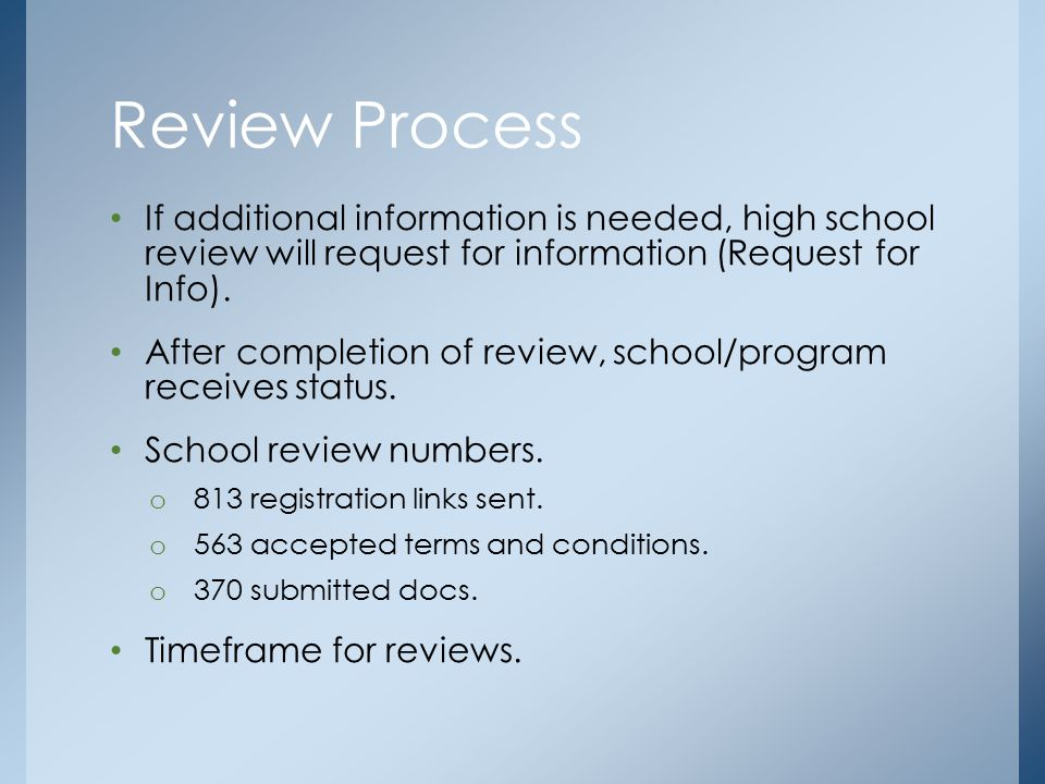 If additional information is needed, high school review will request for information (Request for Info).